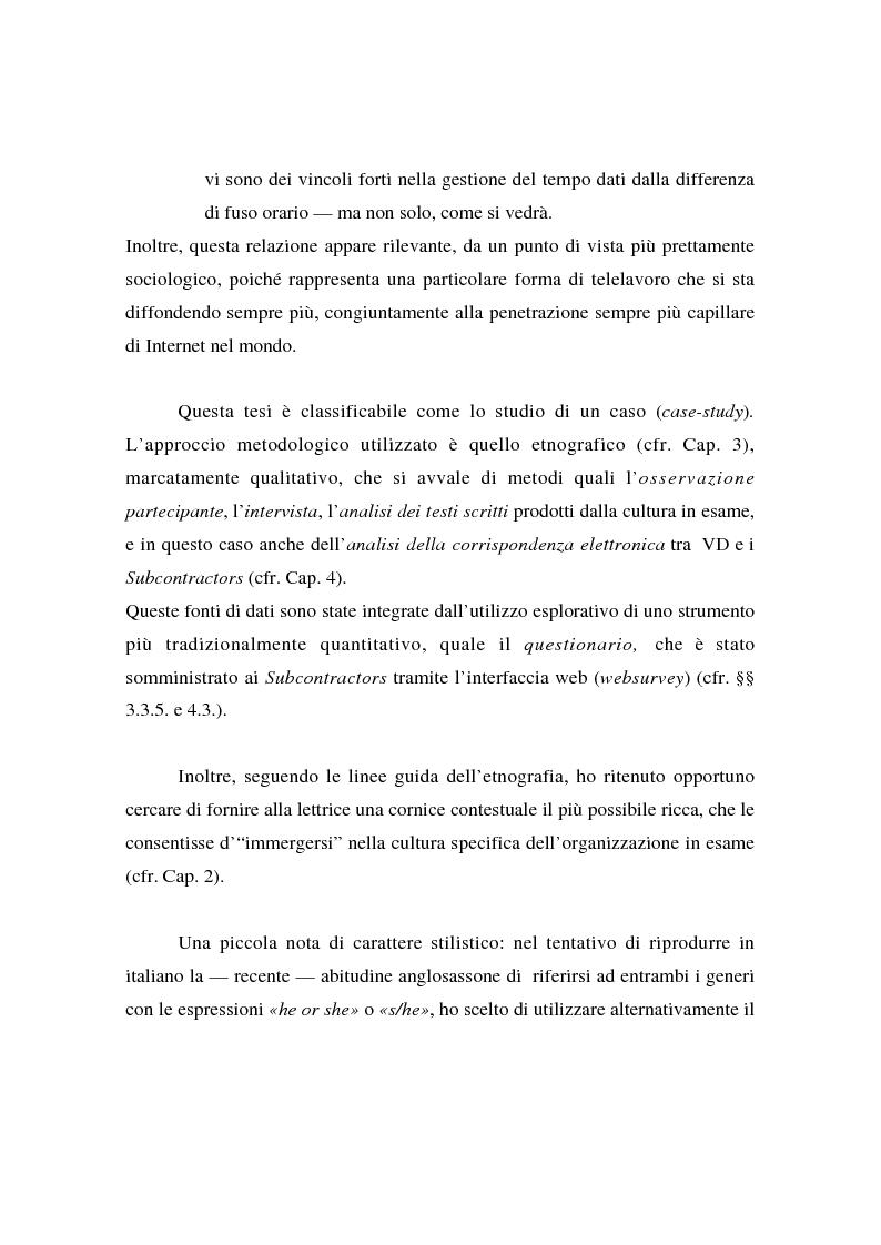 Anteprima della tesi: Collaborare senza mai vedersi: il telelavoro in una virtual organization transnazionale, Pagina 2