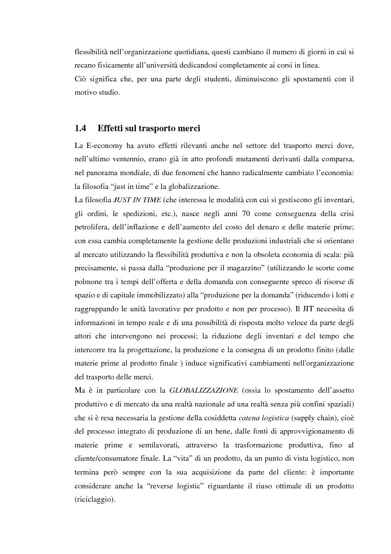 Anteprima della tesi: Gli effetti della E-economy sui trasporti: il caso del commercio elettronico, Pagina 15