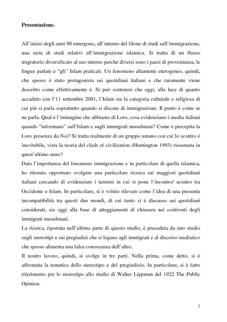 Anteprima della tesi: Mass media e immagini dell'Islam: i quotidiani italiani e l'11 settembre, Pagina 1