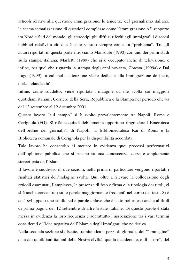 Anteprima della tesi: Mass media e immagini dell'Islam: i quotidiani italiani e l'11 settembre, Pagina 4