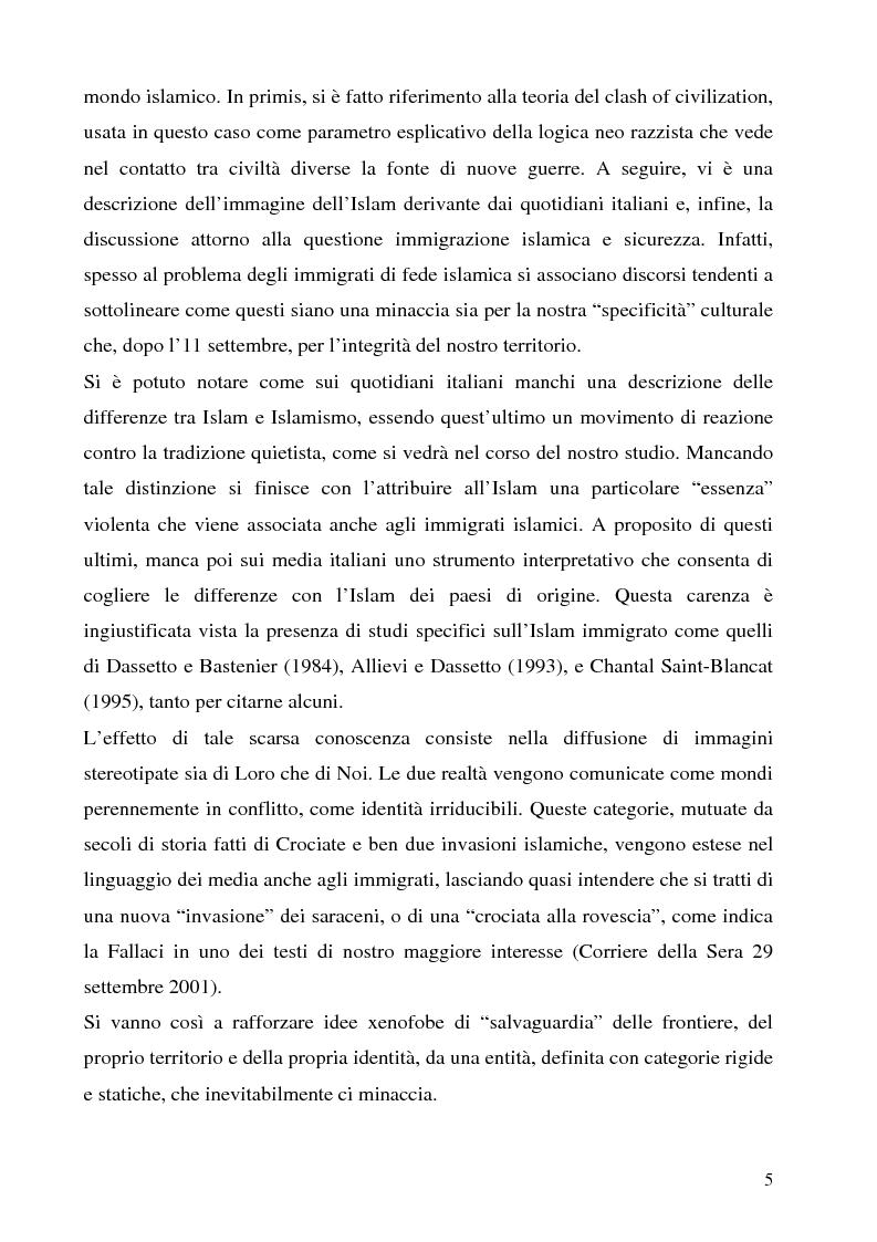 Anteprima della tesi: Mass media e immagini dell'Islam: i quotidiani italiani e l'11 settembre, Pagina 5