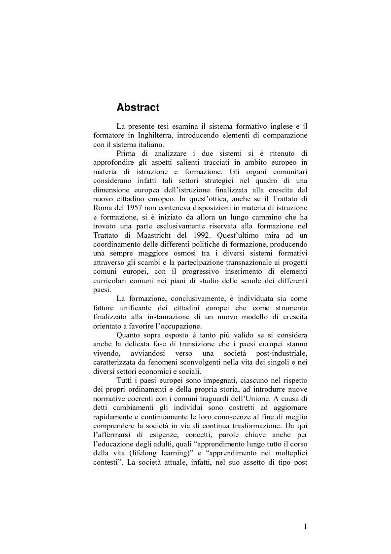 Il sistema formativo e il formatore in Inghilterra. Elementi di comparazione con l'Italia - Tesi di Laurea
