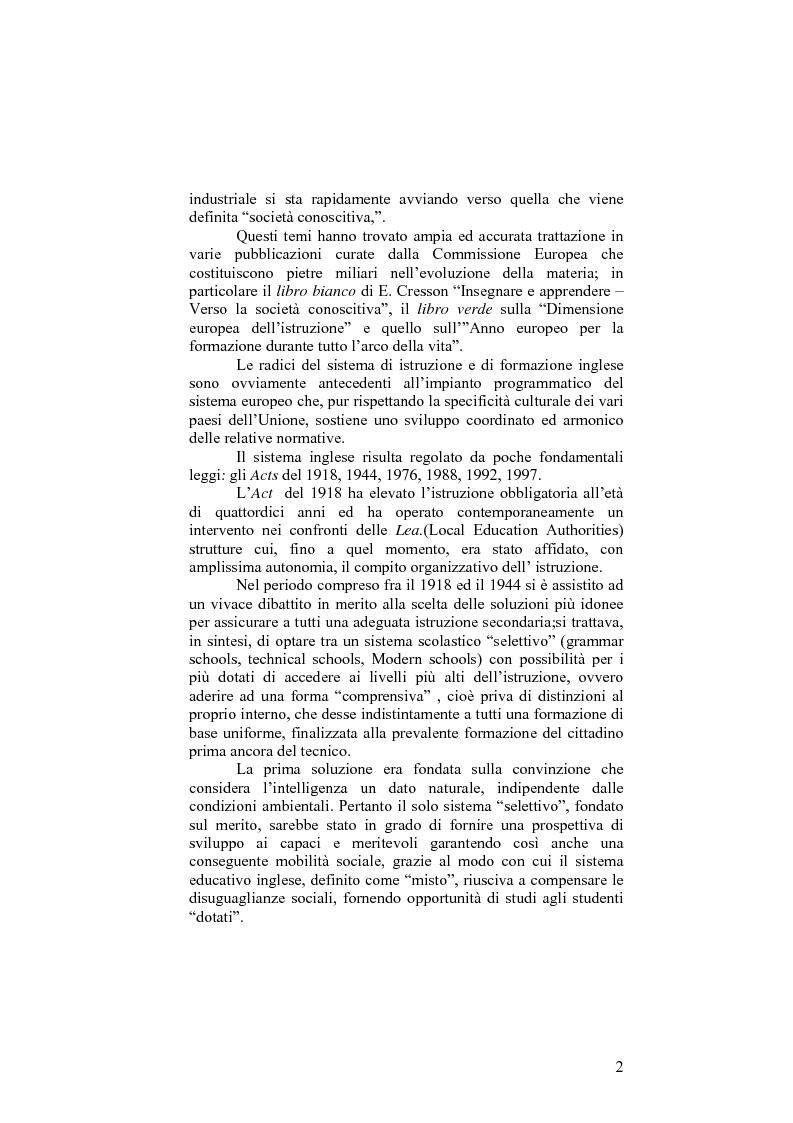 Anteprima della tesi: Il sistema formativo e il formatore in Inghilterra. Elementi di comparazione con l'Italia, Pagina 2