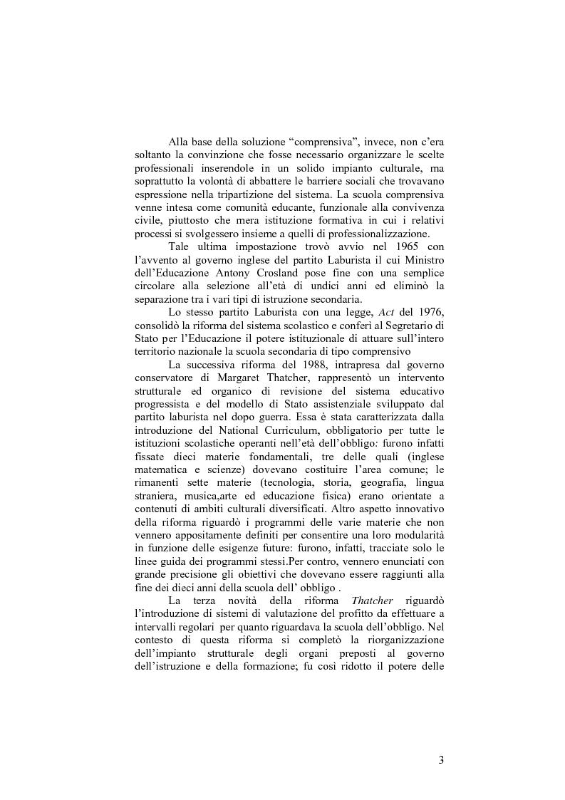 Anteprima della tesi: Il sistema formativo e il formatore in Inghilterra. Elementi di comparazione con l'Italia, Pagina 3