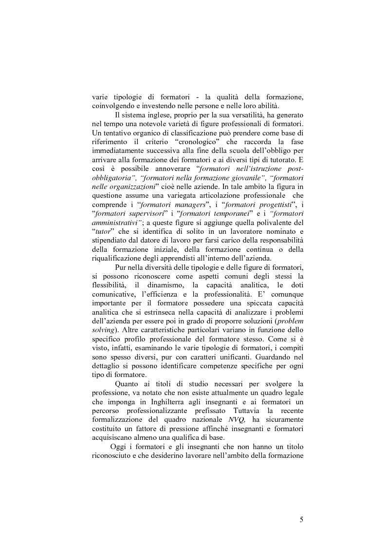 Anteprima della tesi: Il sistema formativo e il formatore in Inghilterra. Elementi di comparazione con l'Italia, Pagina 5