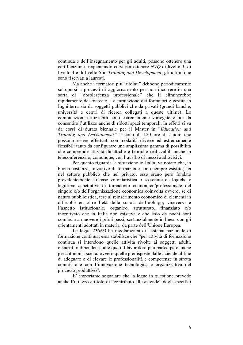 Anteprima della tesi: Il sistema formativo e il formatore in Inghilterra. Elementi di comparazione con l'Italia, Pagina 6