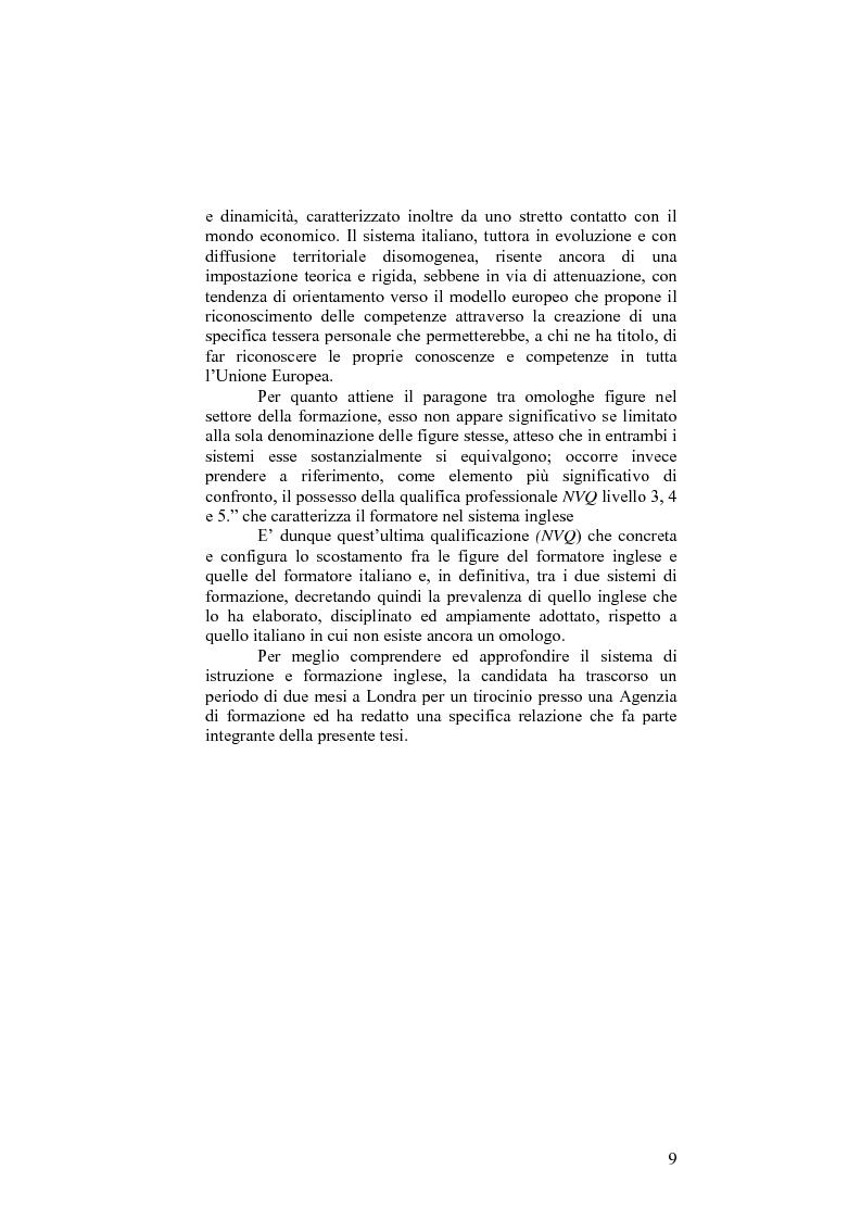 Anteprima della tesi: Il sistema formativo e il formatore in Inghilterra. Elementi di comparazione con l'Italia, Pagina 9