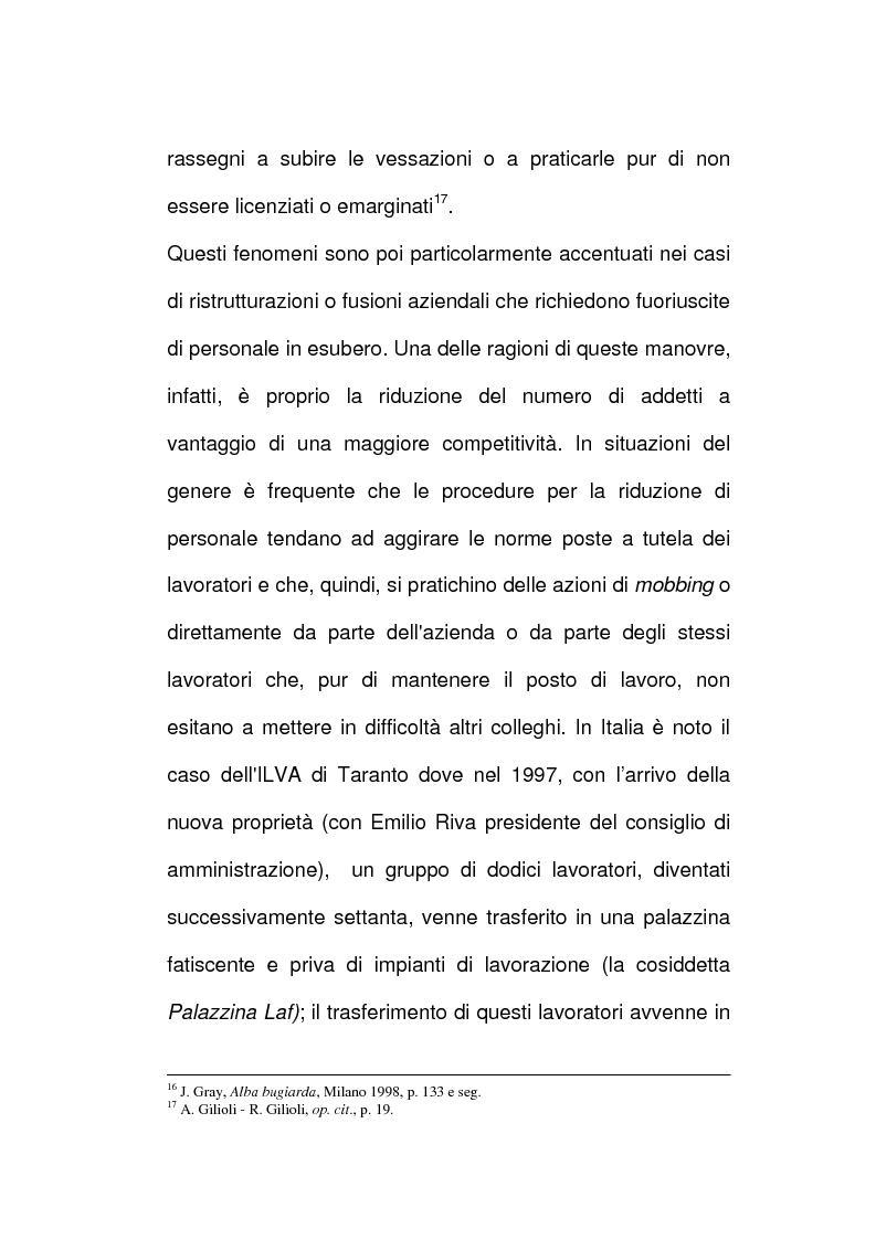 Anteprima della tesi: Vessazioni sul lavoro - La tutela del prestatore d'opere vittima di mobbing, Pagina 11