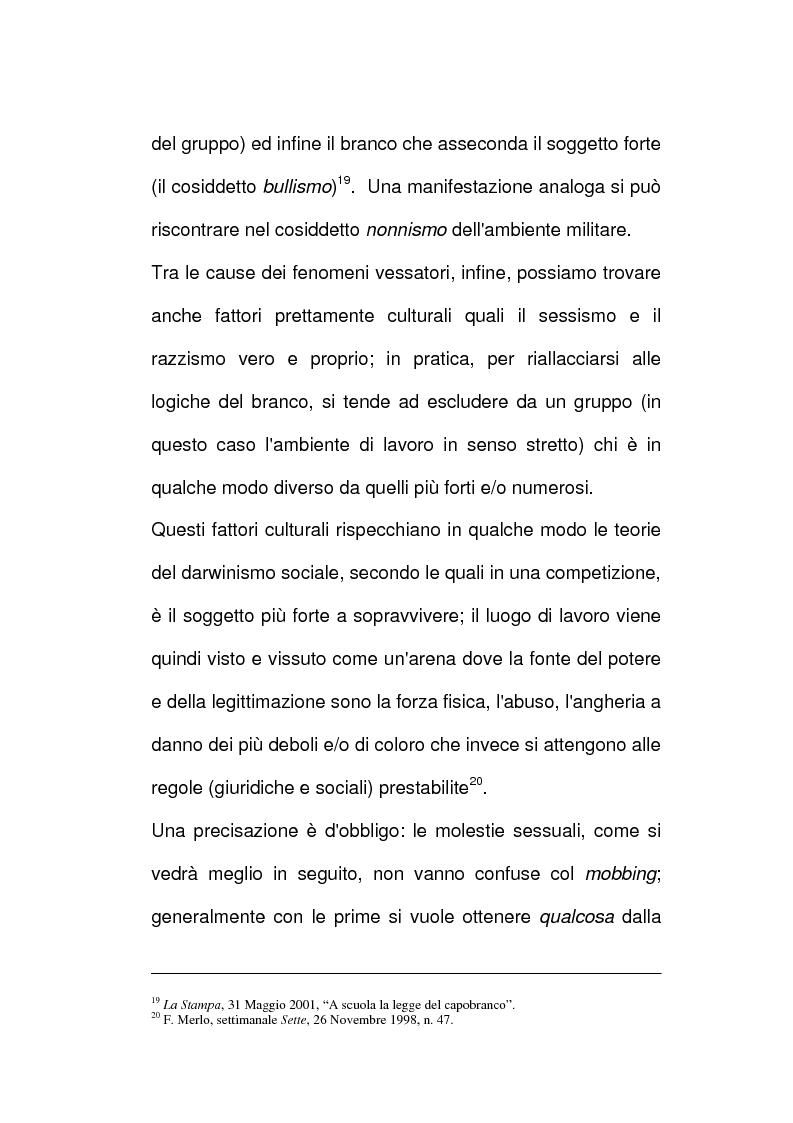Anteprima della tesi: Vessazioni sul lavoro - La tutela del prestatore d'opere vittima di mobbing, Pagina 13