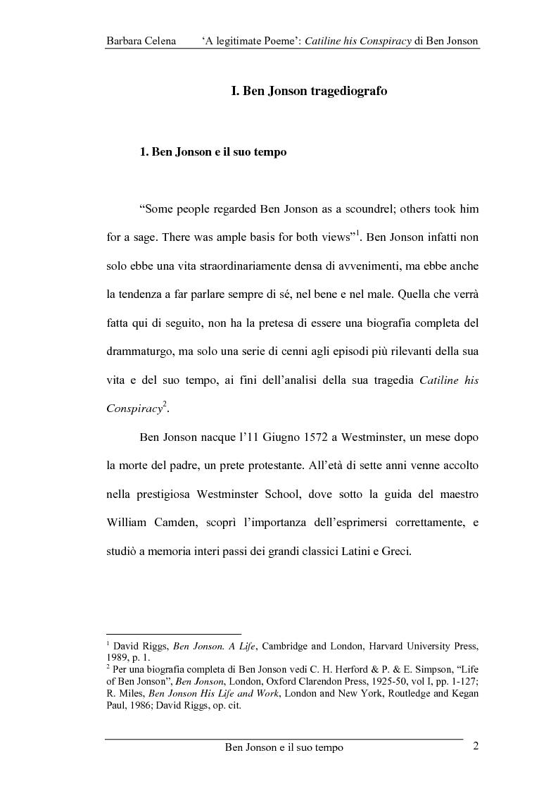 Anteprima della tesi: A legitimate poeme: Catiline His Conspiracy di Ben Jonson, Pagina 1