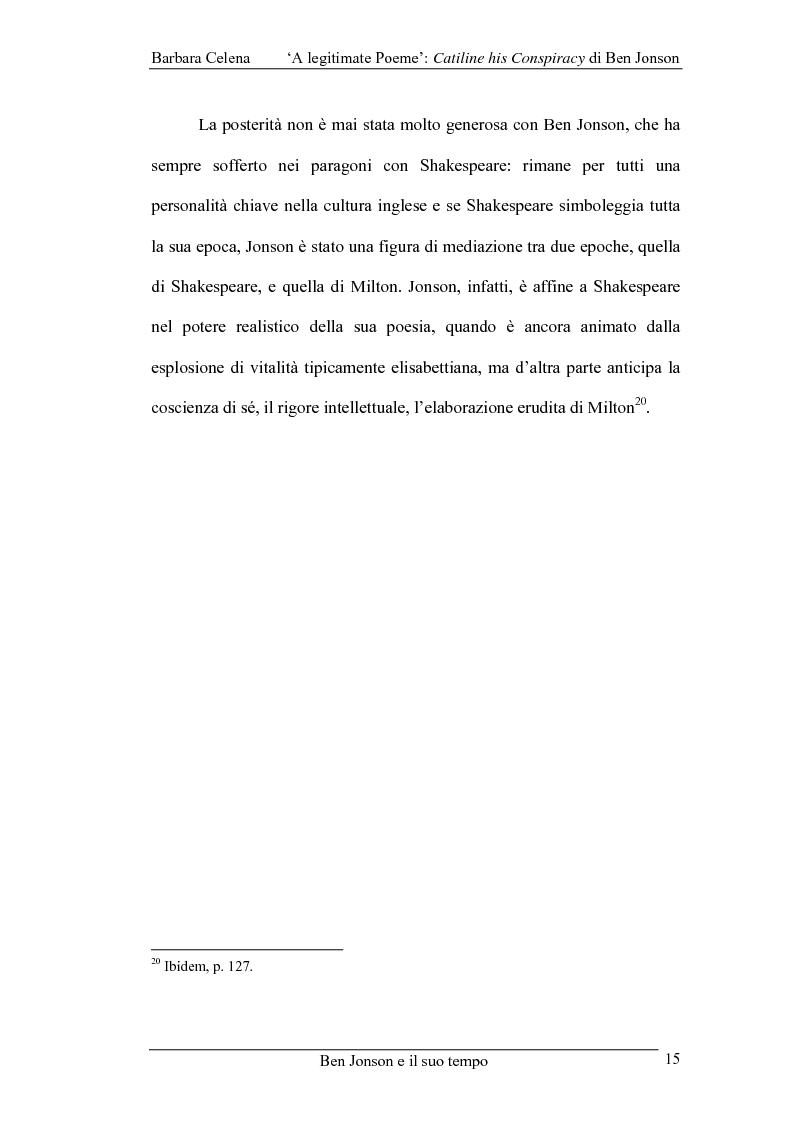 Anteprima della tesi: A legitimate poeme: Catiline His Conspiracy di Ben Jonson, Pagina 14