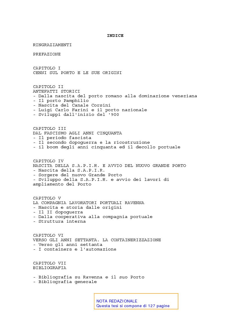 Indice della tesi: Il porto di Ravenna dal fascismo ai nostri giorni, Pagina 1