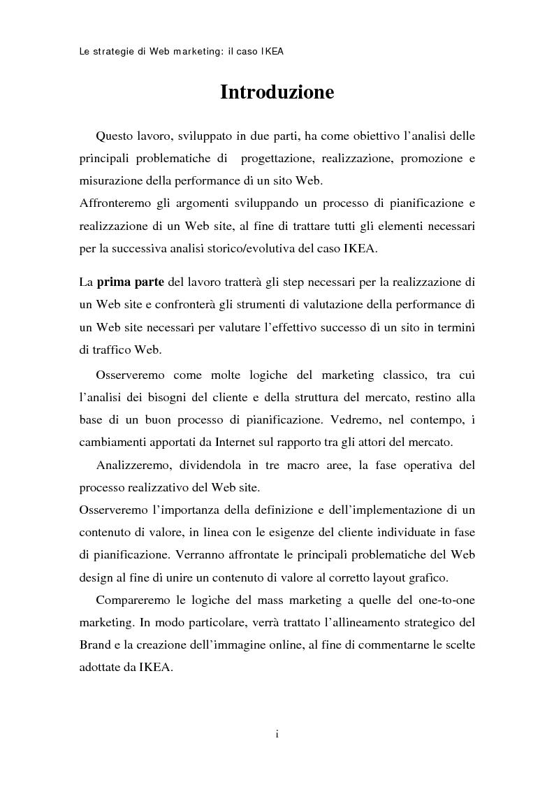 Anteprima della tesi: Le strategie di web marketing: il caso Ikea, Pagina 1