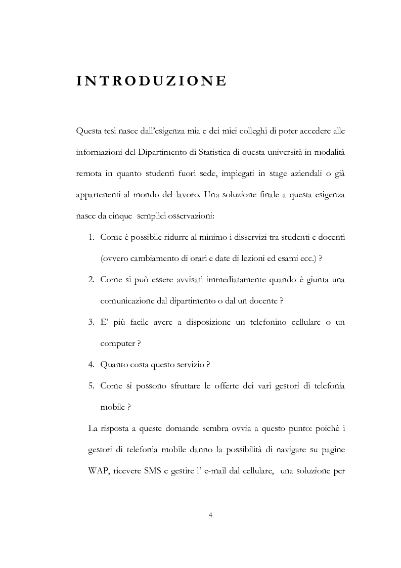 Anteprima della tesi: W@pstat: gestire le informazioni di un dipartimento universitario tramite wap, Pagina 1