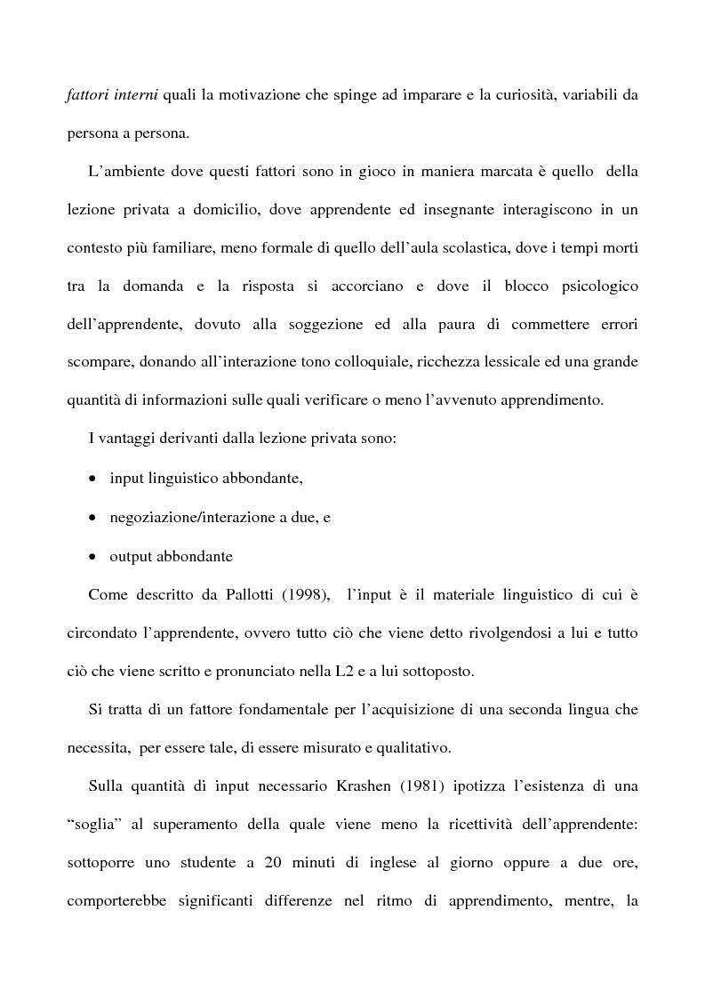 Anteprima della tesi: L'apprendimento dell'inglese L2 a lezione privata, Pagina 4