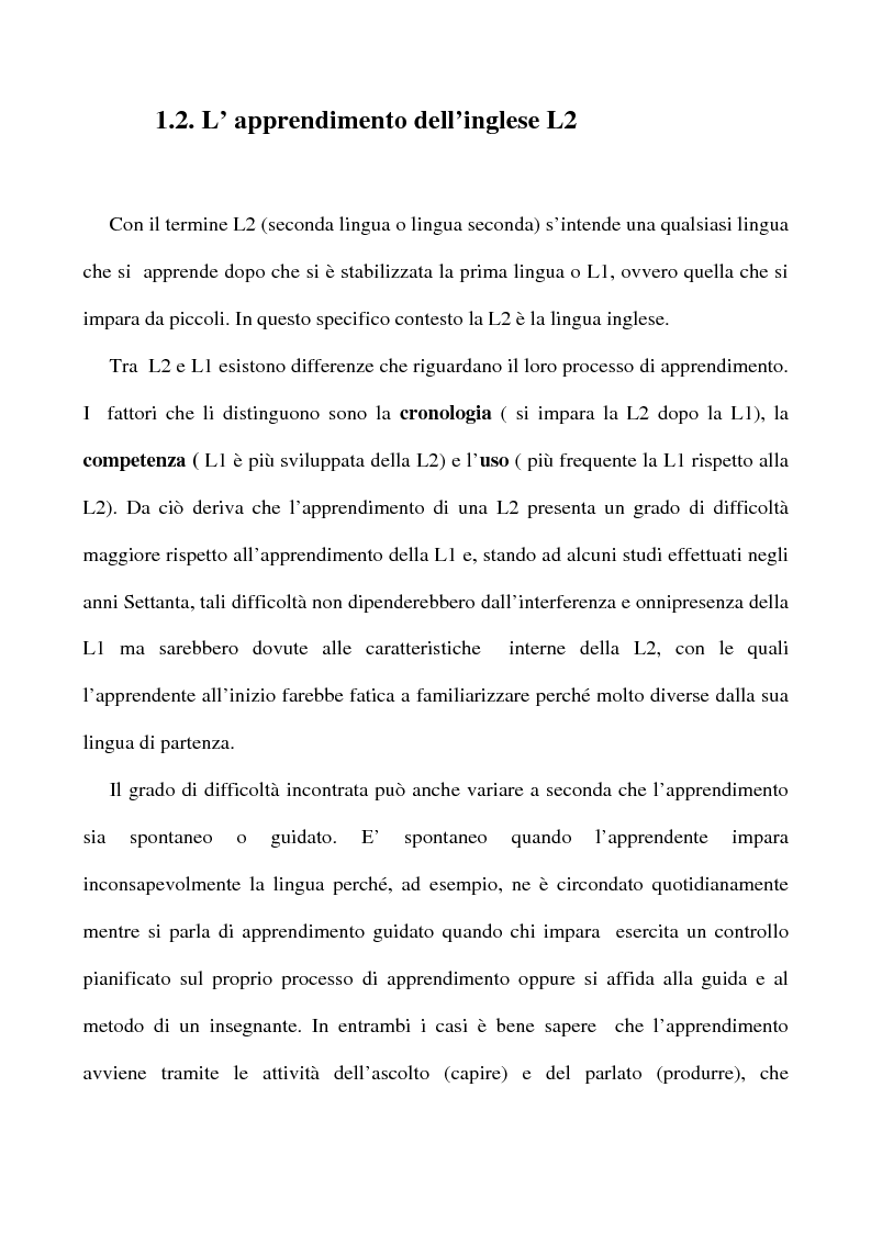 Anteprima della tesi: L'apprendimento dell'inglese L2 a lezione privata, Pagina 9