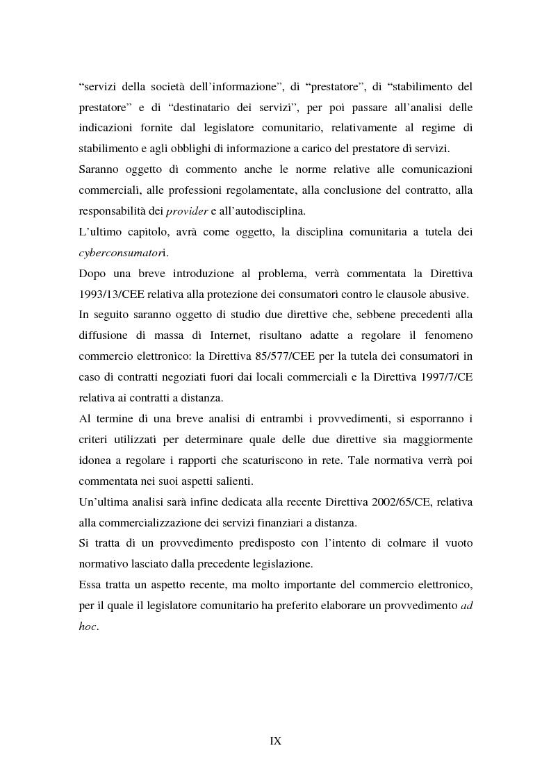 Anteprima della tesi: La disciplina comunitaria in materia di commercio elettronico, Pagina 7