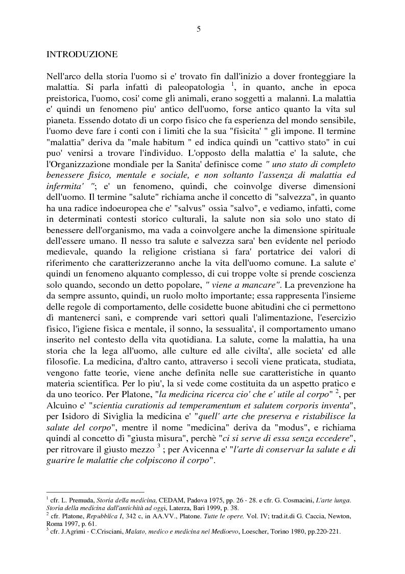 Anteprima della tesi: Aspetti e momenti del pensiero medico antico e medievale con particolare riguardo ai Consilia ed ai Regimina, Pagina 1