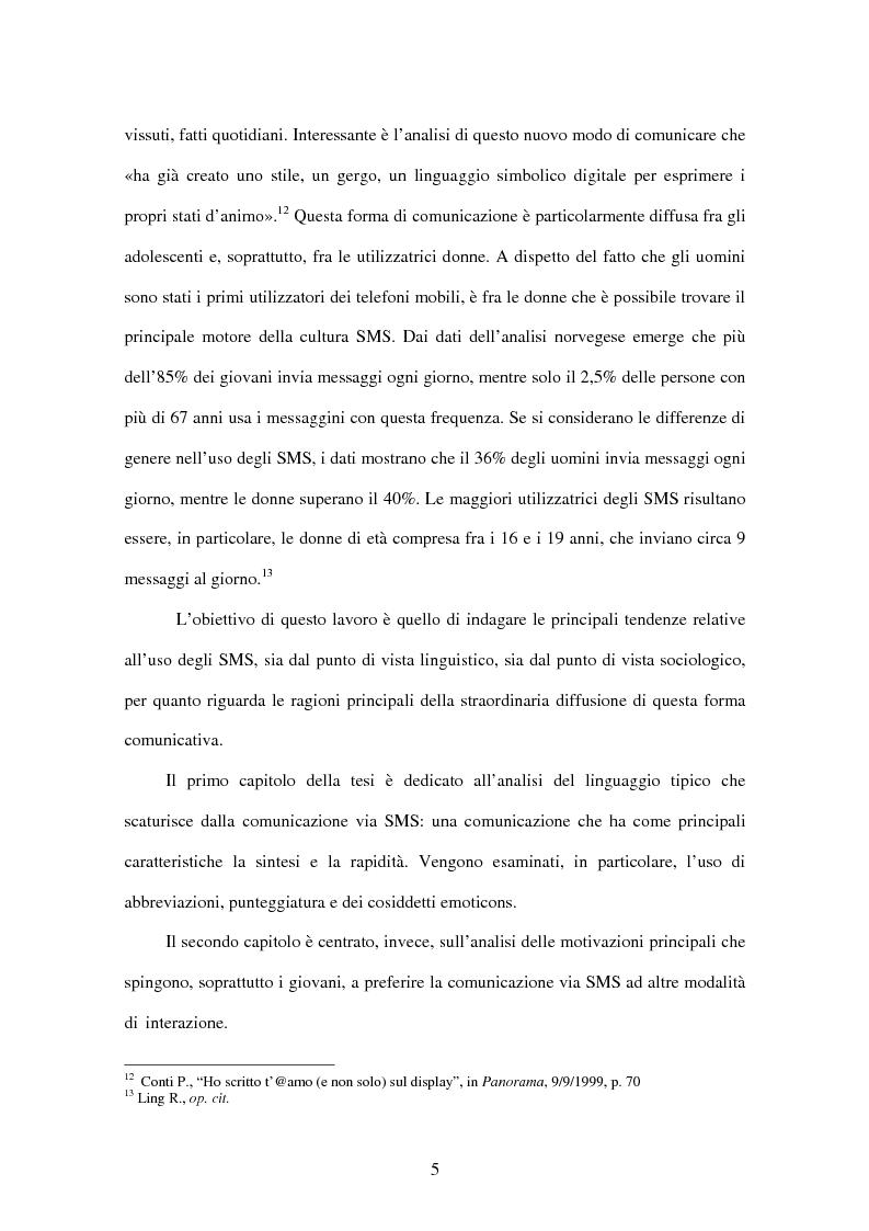 Anteprima della tesi: Il fenomeno Sms: un nuovo modo di comunicare, Pagina 4