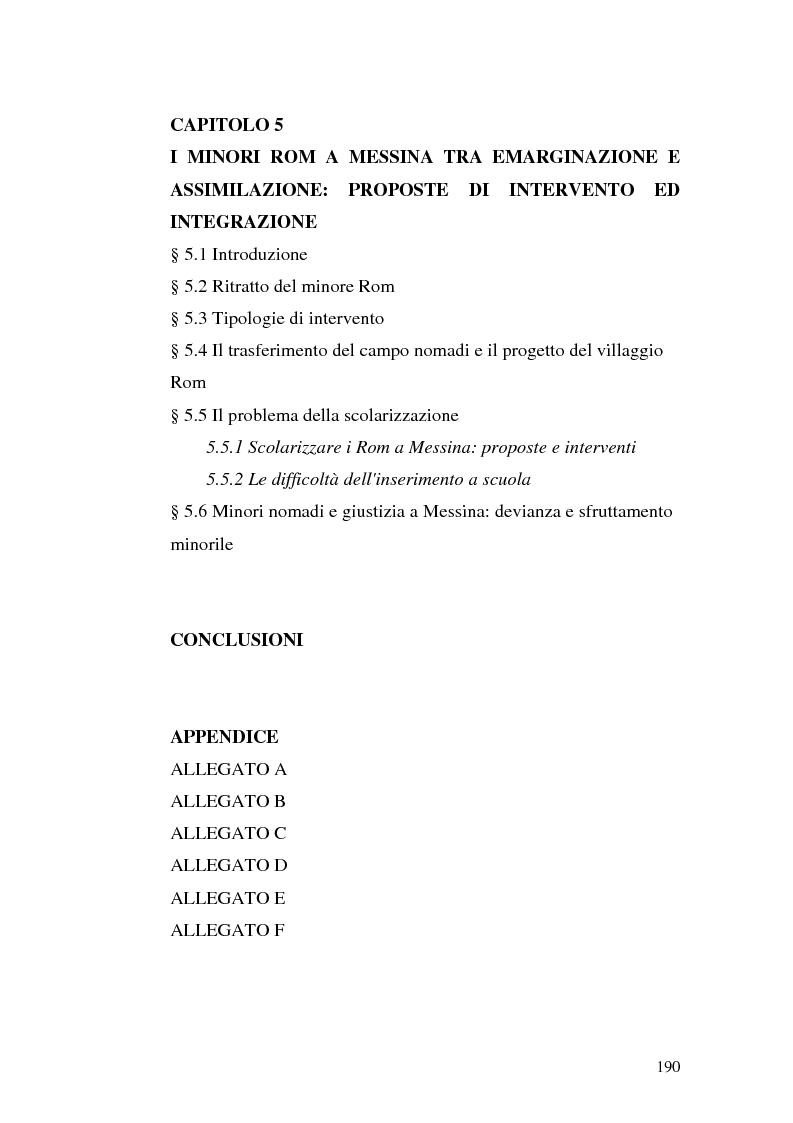 Indice della tesi: La scoperta della cultura Rom come mezzo per un'integrazione possibile: una ricerca sui minori Rom di Messina, Pagina 3