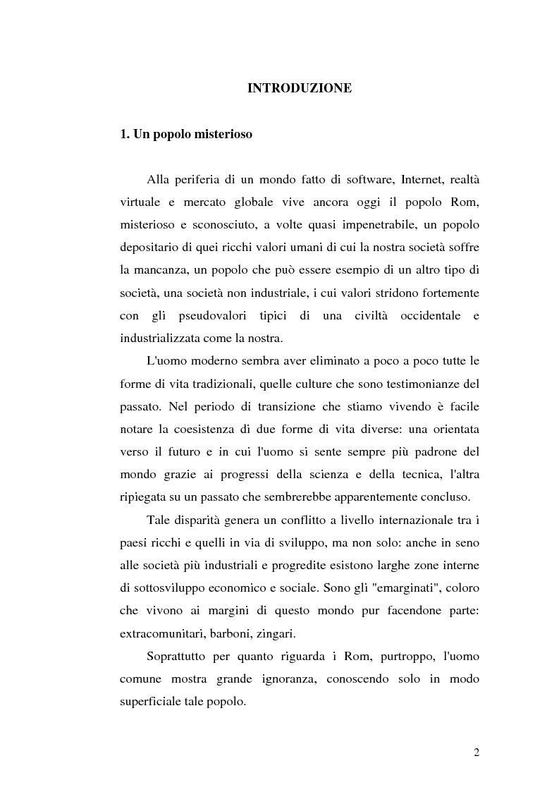 Anteprima della tesi: La scoperta della cultura Rom come mezzo per un'integrazione possibile: una ricerca sui minori Rom di Messina, Pagina 1