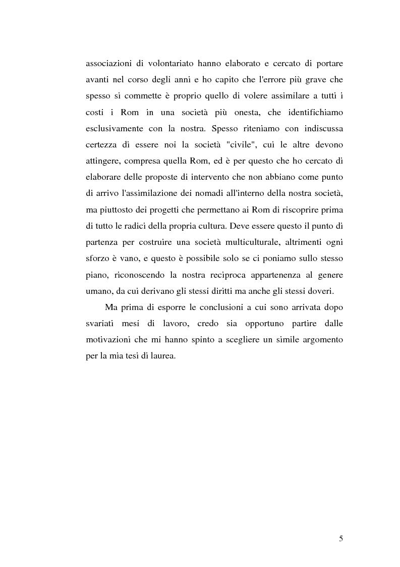 Anteprima della tesi: La scoperta della cultura Rom come mezzo per un'integrazione possibile: una ricerca sui minori Rom di Messina, Pagina 4