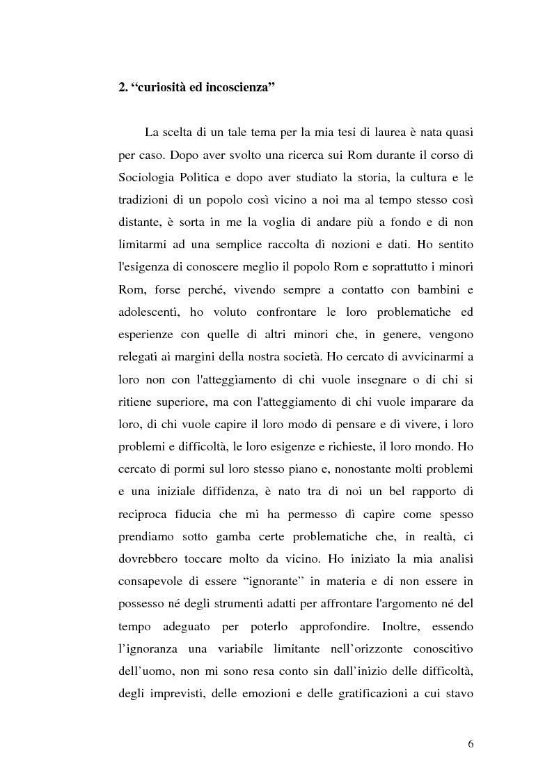 Anteprima della tesi: La scoperta della cultura Rom come mezzo per un'integrazione possibile: una ricerca sui minori Rom di Messina, Pagina 5