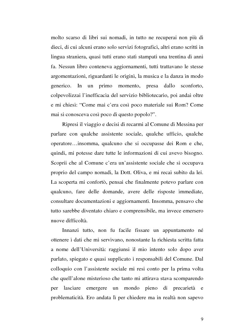 Anteprima della tesi: La scoperta della cultura Rom come mezzo per un'integrazione possibile: una ricerca sui minori Rom di Messina, Pagina 8