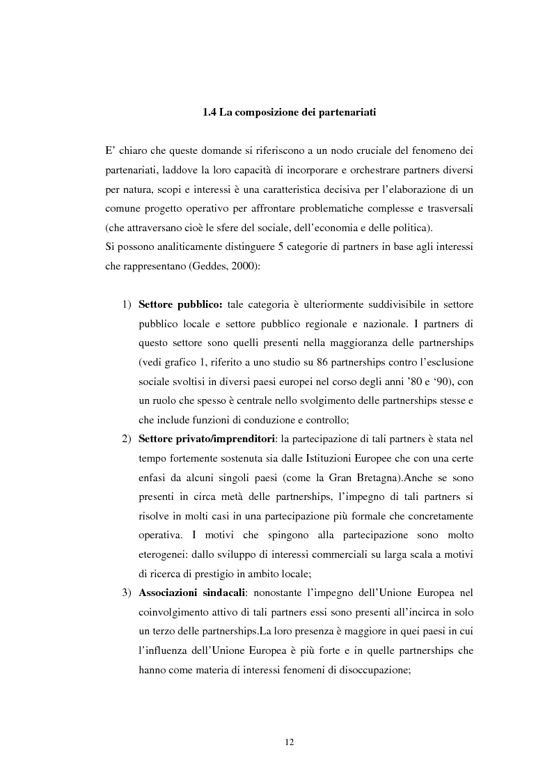 Anteprima della tesi: Le teorie dichiarate e le pratiche delle partnership locali. Il caso S.O.N.A.R., Pagina 11