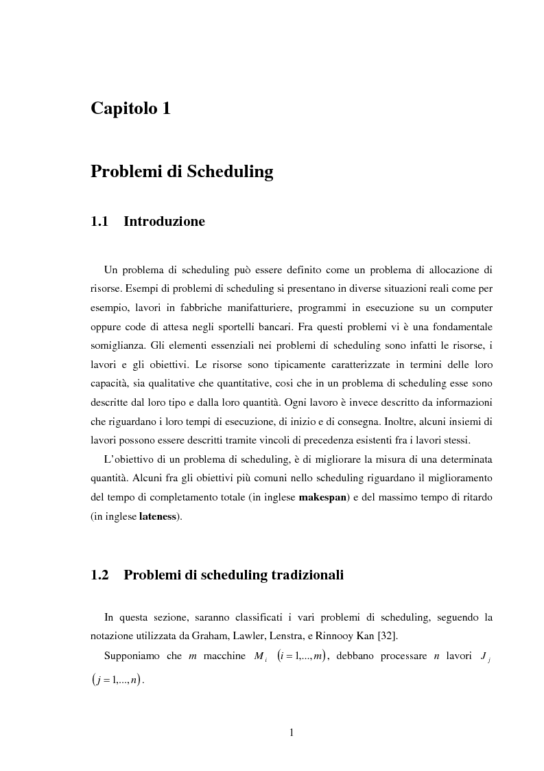 Anteprima della tesi: Analisi e sperimentazione di algoritmi di scheduling bicriterio, Pagina 1