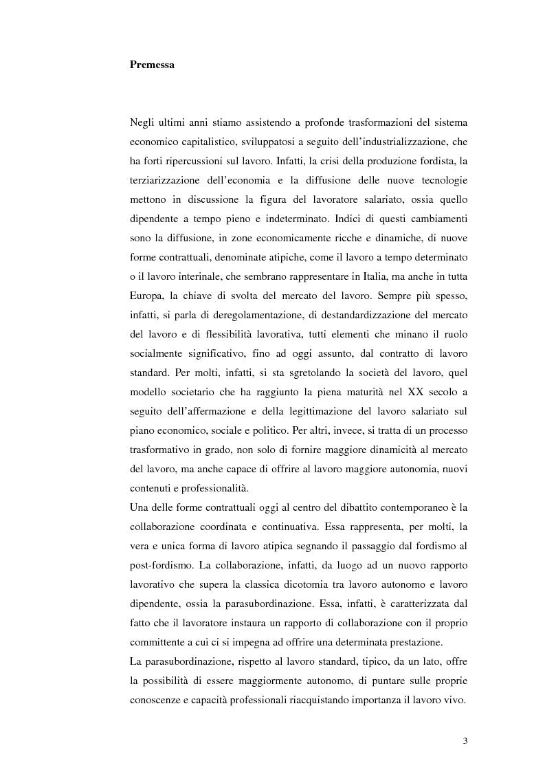Anteprima della tesi: Il lavoro tra economia e società. Le trasformazioni del lavoro e le nuove forme della parasubordinazione. Una ricerca empirica in Emilia Romagna, Pagina 1