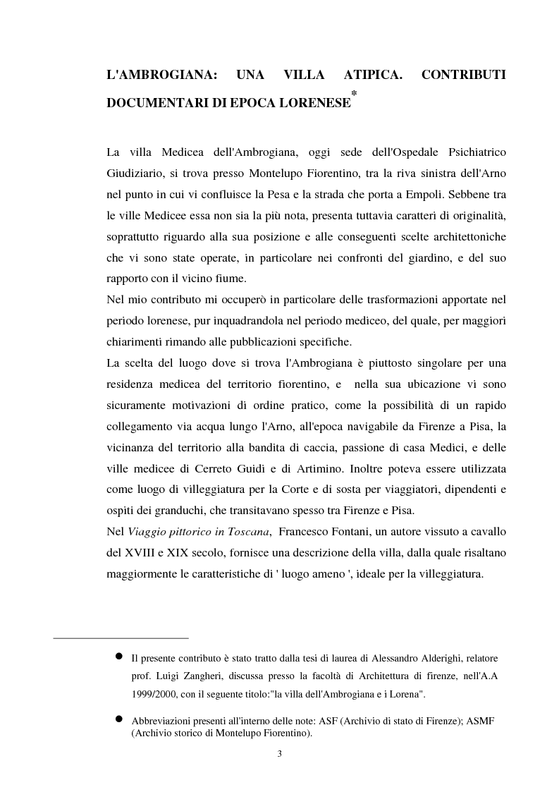 Anteprima della tesi: La villa dell'Ambrogiana e i Lorena, Pagina 1