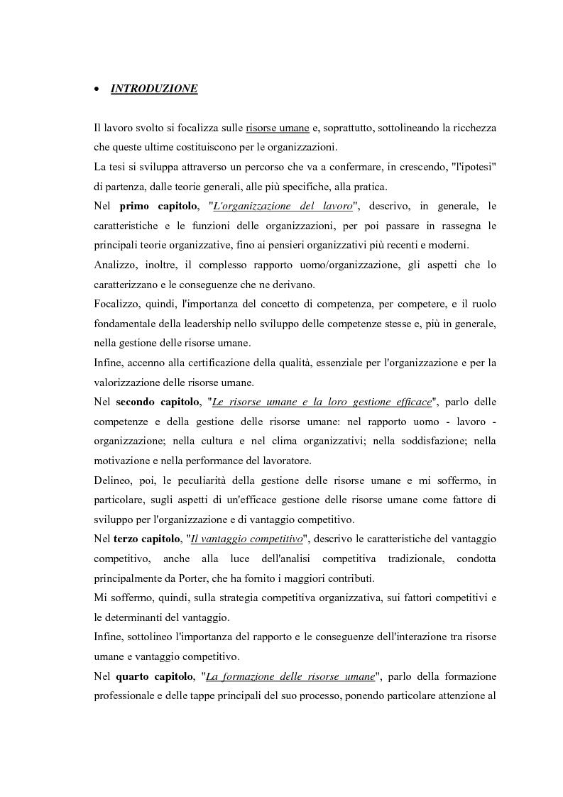 Anteprima della tesi: La gestione efficace della ricchezza ''risorse umane'' come fattore di sviluppo organizzativo e vantaggio competitivo: il contributo dell'intervento formativo, Pagina 3