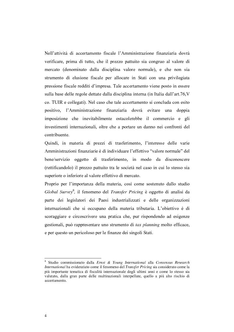 Anteprima della tesi: Procedure di eliminazione della doppia imposizione sui prezzi di trasferimento nella Convenzione italo-elvetica, Pagina 4