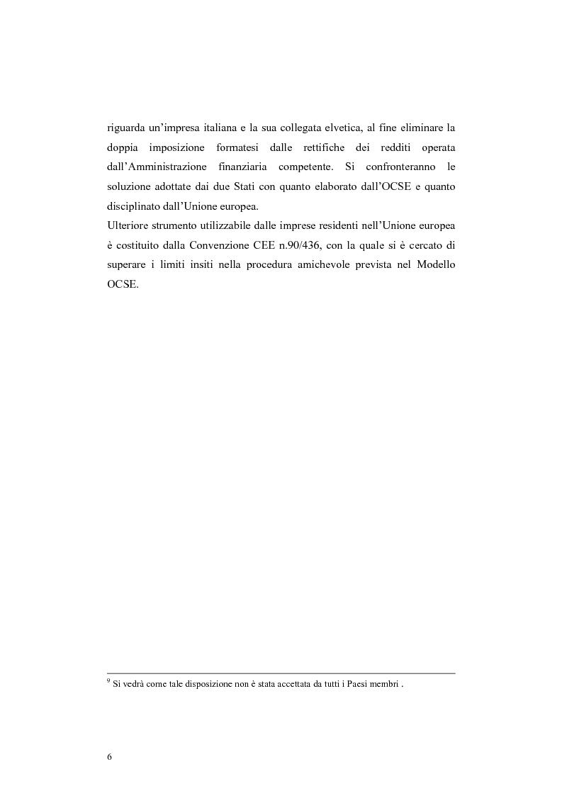 Anteprima della tesi: Procedure di eliminazione della doppia imposizione sui prezzi di trasferimento nella Convenzione italo-elvetica, Pagina 6