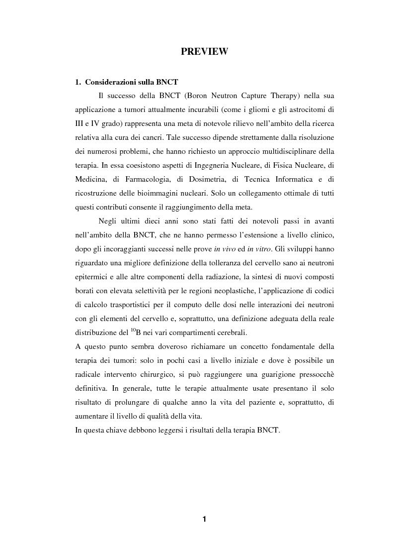 Anteprima della tesi: Impiego del codice MCNP-4A nella BNCT (Boron Neutron Capture Therapy), con particolare riguardo allo sviluppo di un metodo originale per la valutazione della dose da cattura neutronica in base a dati PET, Pagina 1