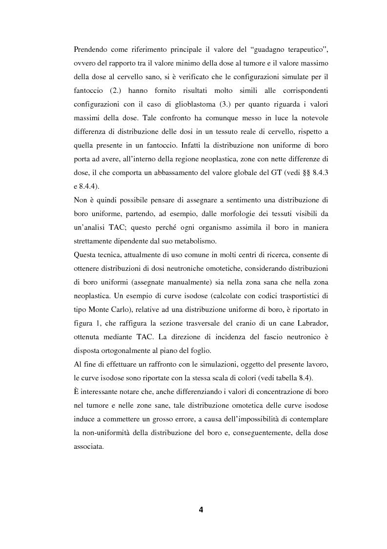 Anteprima della tesi: Impiego del codice MCNP-4A nella BNCT (Boron Neutron Capture Therapy), con particolare riguardo allo sviluppo di un metodo originale per la valutazione della dose da cattura neutronica in base a dati PET, Pagina 4
