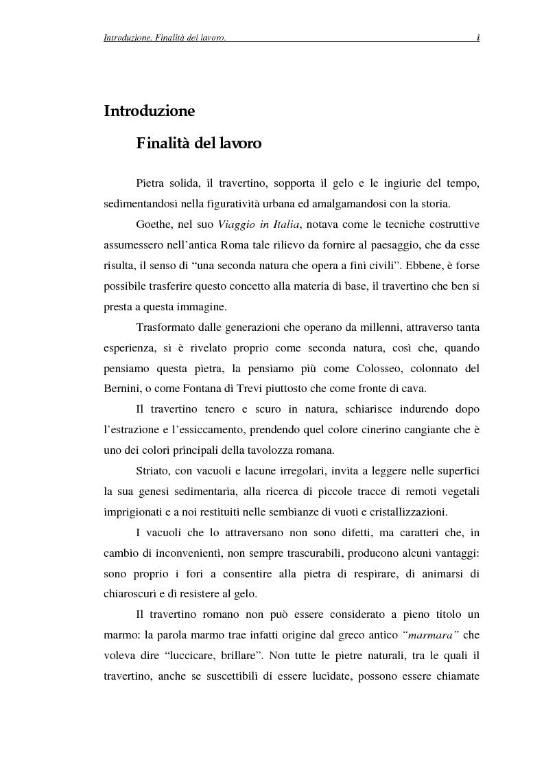 Anteprima della tesi: La certificazione di qualità del travertino romano, Pagina 1