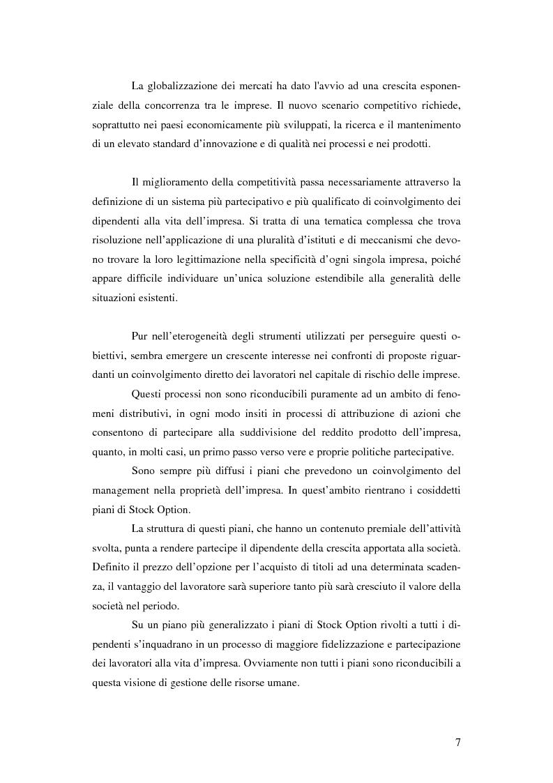 Anteprima della tesi: L'adozione dei piani di ''stock option'' in Italia, Pagina 1