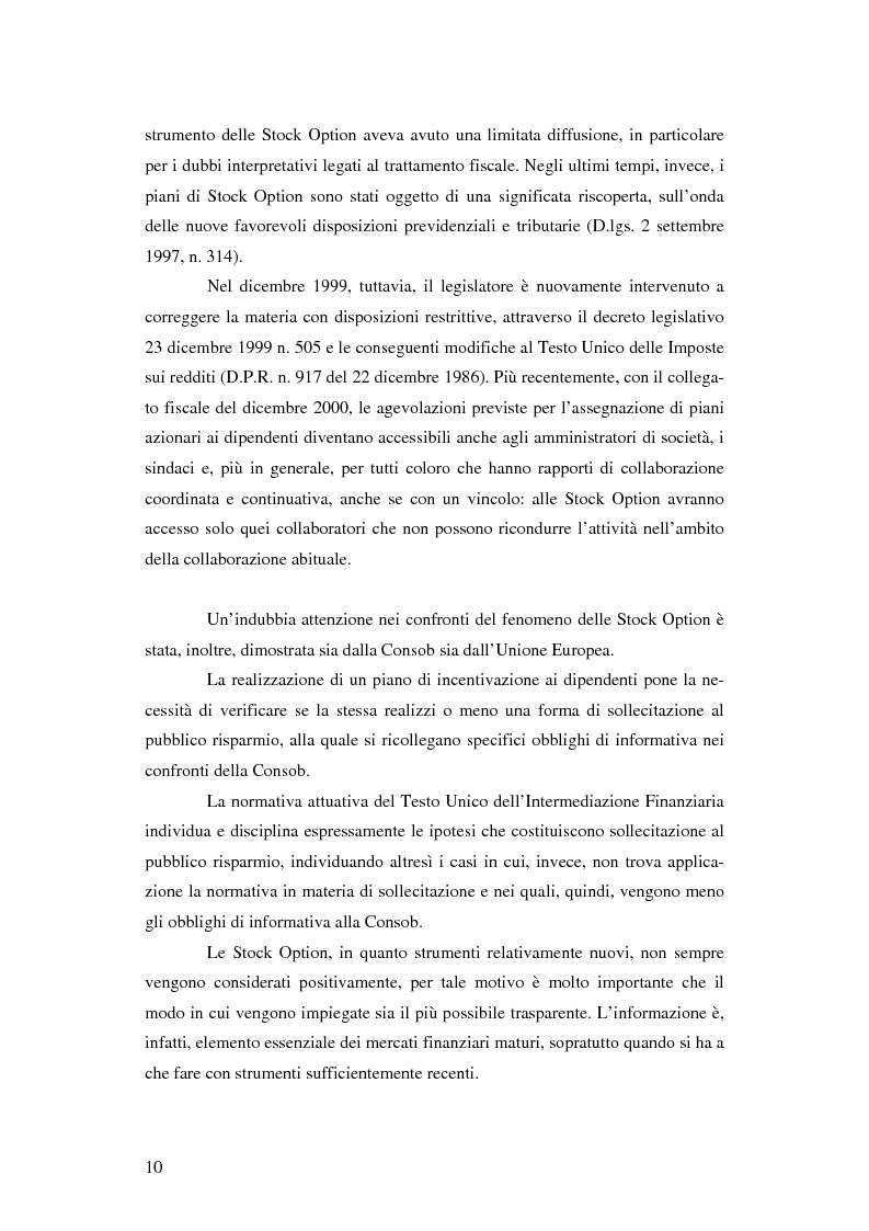 Anteprima della tesi: L'adozione dei piani di ''stock option'' in Italia, Pagina 4