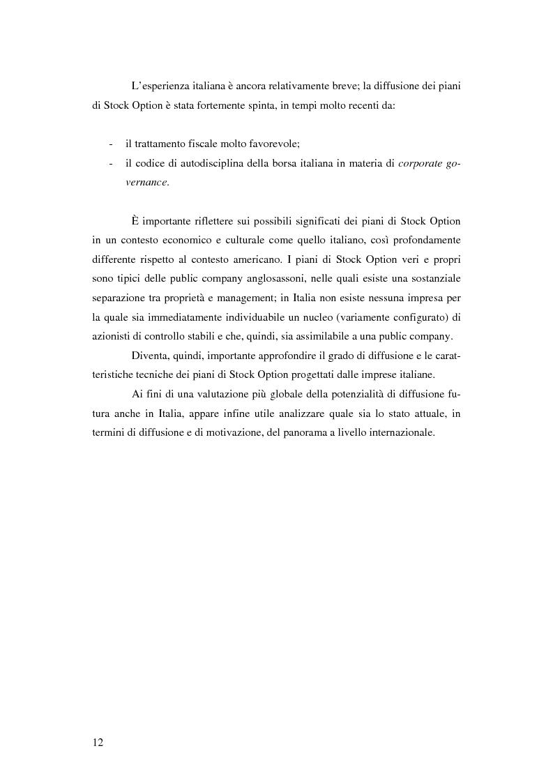 Anteprima della tesi: L'adozione dei piani di ''stock option'' in Italia, Pagina 6