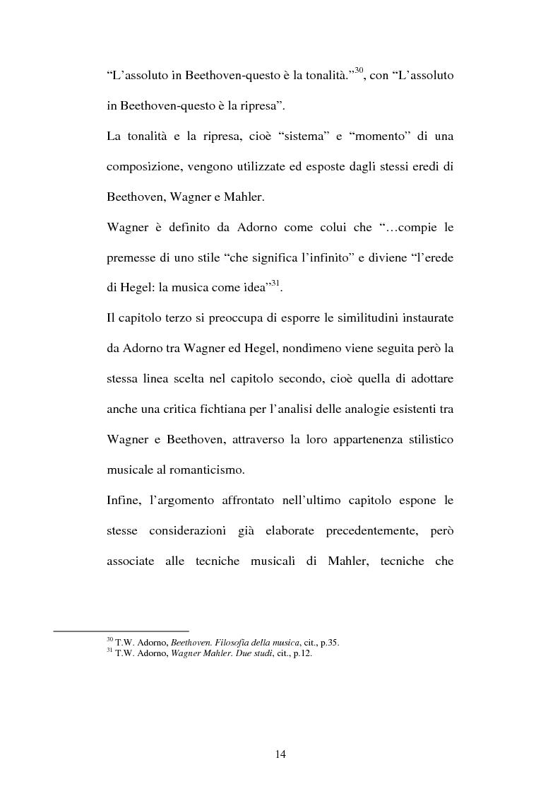 Anteprima della tesi: Il Beethoven di Adorno. Un confronto con il romanticismo, con Fichte ed Hegel, Pagina 12