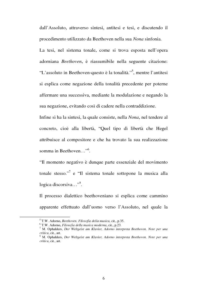 Anteprima della tesi: Il Beethoven di Adorno. Un confronto con il romanticismo, con Fichte ed Hegel, Pagina 4