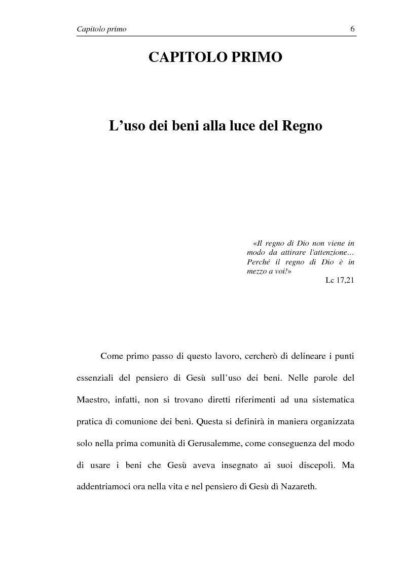 Anteprima della tesi: La comunione dei beni: dalla primitiva comunità cristiana al mercato economico e all'Economia di Comunione, Pagina 5