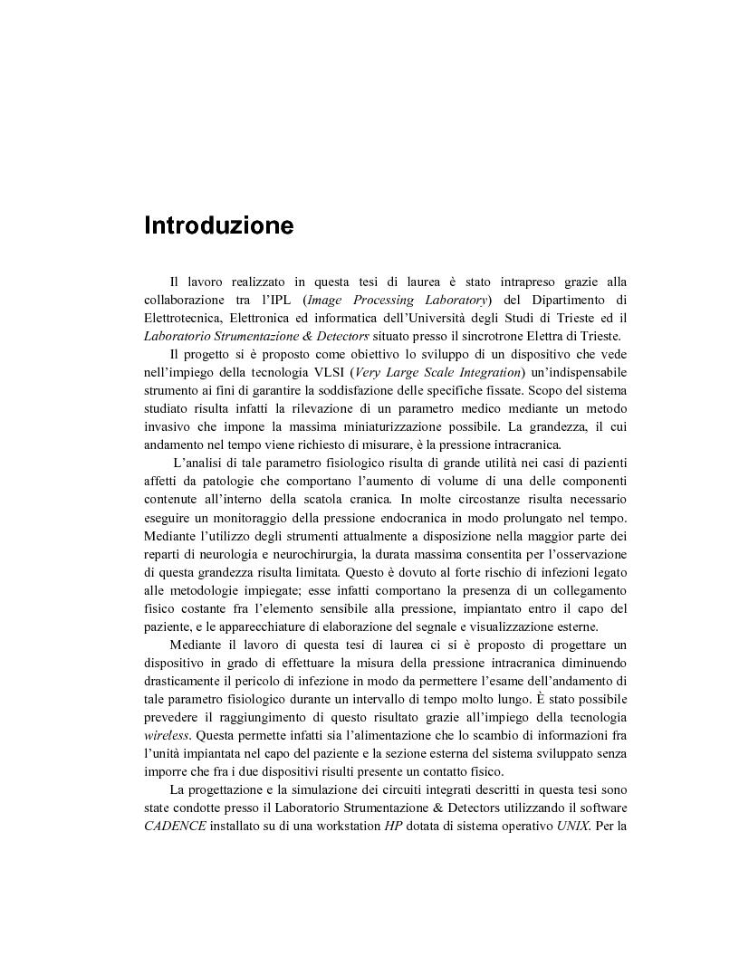 Anteprima della tesi: Sviluppo di un sistema wireless per la misura della pressione intracranica, Pagina 1