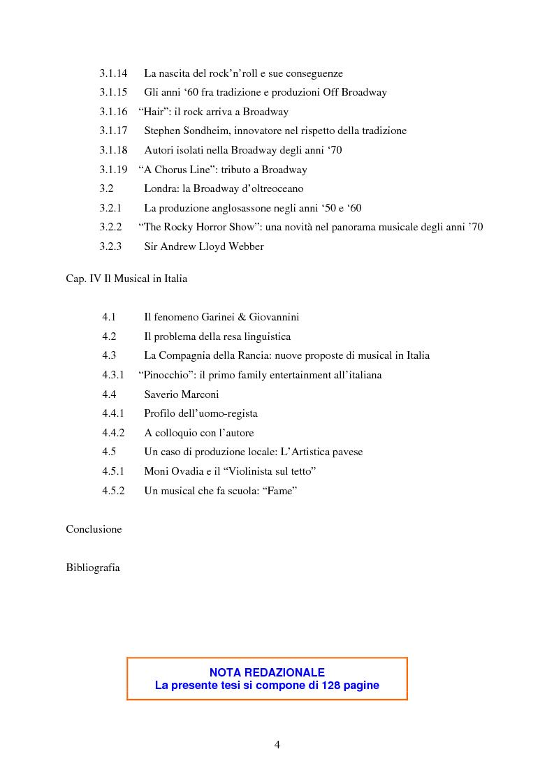 Indice della tesi: Forme e strutture del musical: il caso anglo-americano e quello italiano, Pagina 3
