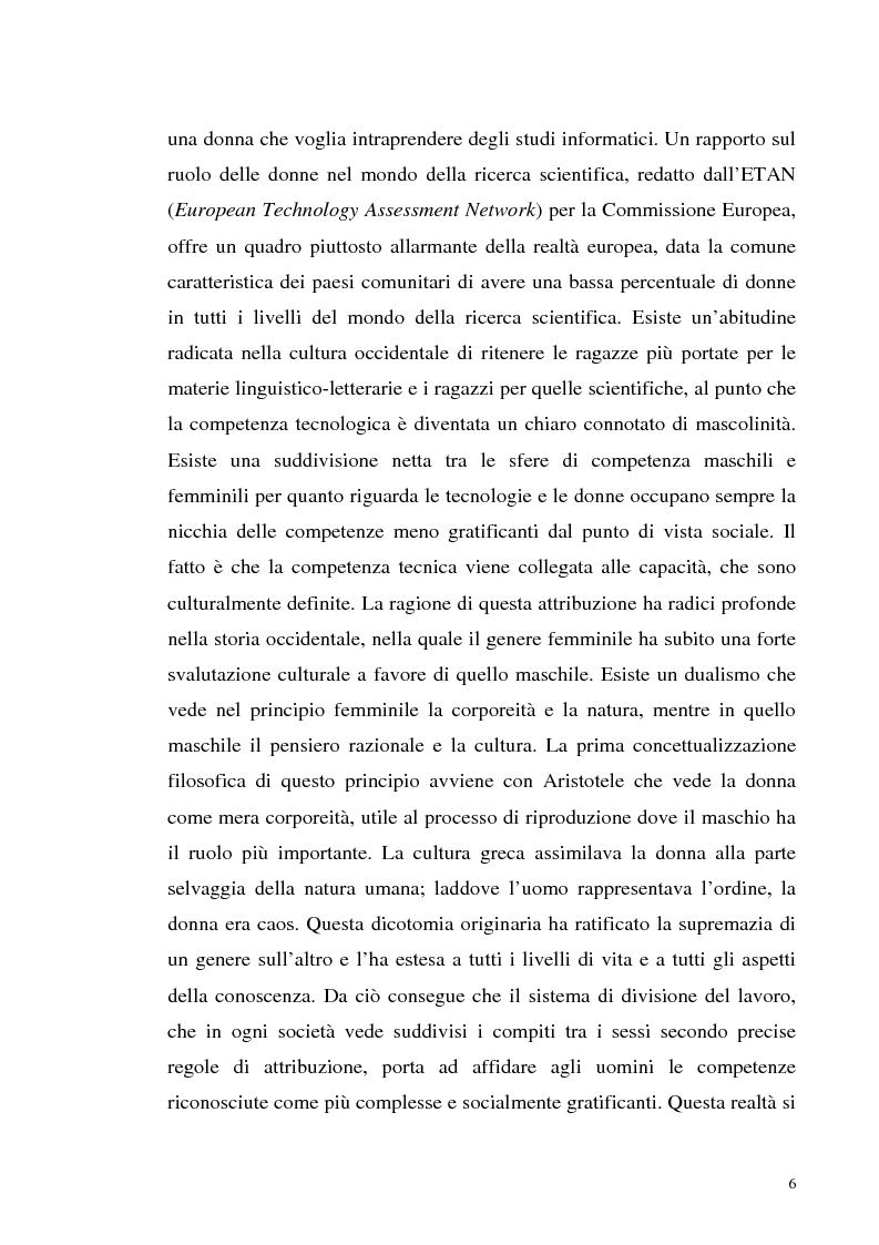 Anteprima della tesi: La tecnologia al femminile. Uno sguardo antropologico sui nuovi scenari tecnologici, Pagina 3