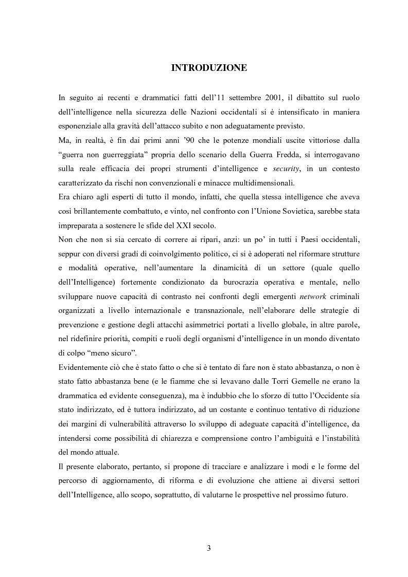 Anteprima della tesi: L'intelligence nel XXI secolo: analisi e prospettive, Pagina 1