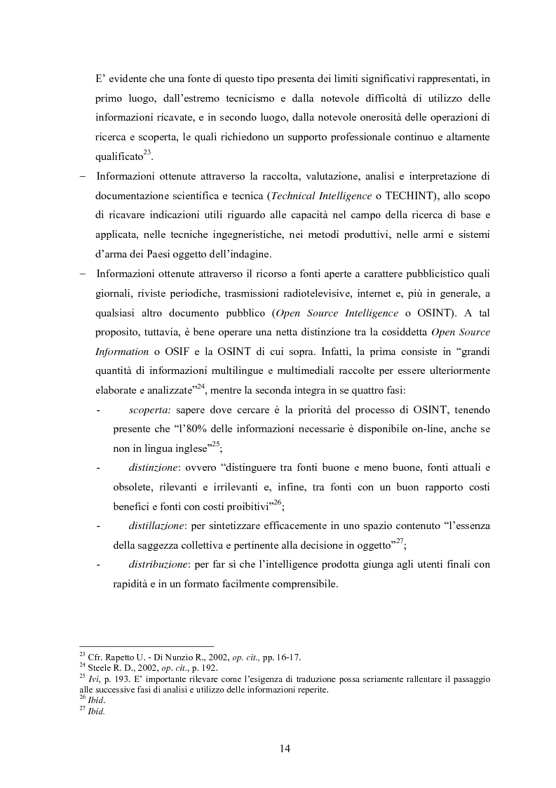 Anteprima della tesi: L'intelligence nel XXI secolo: analisi e prospettive, Pagina 12
