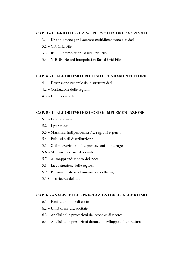 Indice della tesi: Sviluppo e analisi delle prestazioni di un algoritmo per la gestione di grid file distribuiti, Pagina 2